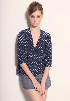 v neck polka dotted blouse