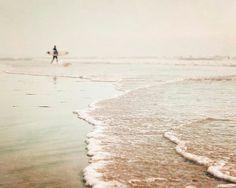 Surfer Wall Art Beach Decor Pale Cream Beige Beach by BreeMadden