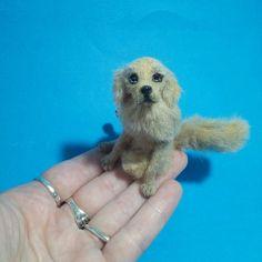 OOAK Realistic golden retriever dog Dollhouse Handmade by ewelina IGMA