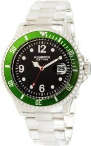 K&BROS Men's 9419-3 Ice-Time Big Sub Black and Green Polylcarbonate Watch K&Bros. $100.00. Water-resistant to 165 feet (50 M). Mineral crystal. Made in China, Italian design; quartz movement. Case diameter: 45.5 mm. Polyurethane case; black dial