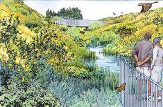 Conceptual Architecture, Landscape Architecture, Landscape Sketch, Landscape Design, Graphic Illustration, Graphic Art, Presentation Example, Ecology Design, Elevation Drawing