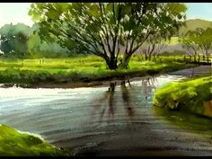 Watercolor Painting landscape : Trees Silhouetted against a Lake - YouTube