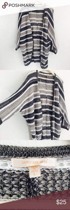 Skies Are Blue Striped Open Front Cardigan In good used condition. Length is about 30 inches. Colors are white, gray, cream and some metallic threads mixed in between. Inventory C16. Skies Are Blue Sweaters Cardigans