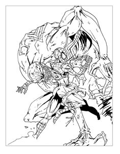 Free coloring page coloring-spiderman-battle-comic. Battle between Spiderman and an ennemy