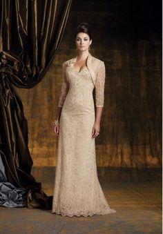 Lace V-Neck A-Line Elegant Long Mother of The Bride Dress with Jacket - Mother of the bride - WHITEAZALEA.com