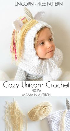 Free Crochet Pattern for Toddler Unicorn Hood with pictures to help you as you go! #freepattern #crochet #hat