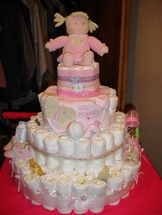 Diaper cakes make a great present for a new parent and you don't need to wrap them!  I have made a couple of these.  New moms don't want to take them apart to use the diapers.