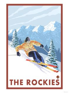 Downhhill Snow Skier, The Rockies Posters - at AllPosters.com.au
