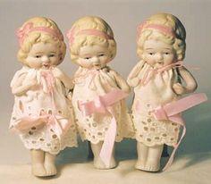 ".Vintage Frozen Charlottes.....a ""cool"" trio"