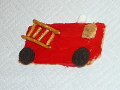 Fire truck snack/craft. Maybe the girls can make these when we visit the fire station?