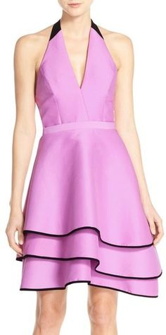 Halston Heritage Cotton & Silk Halter Dress