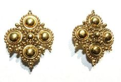 Jose Barrera Adriatic Earrings  Gold Tone Clipon  S 2139