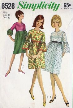 1960s Misses Empire Waist Dress with Bell Sleeves