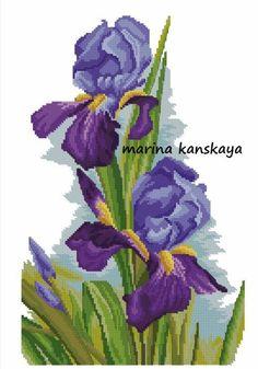 Cross Stitching, Cross Stitch Embroidery, Hand Embroidery, Cross Stitch Patterns, Cross Stitch Tutorial, Iris Flowers, Cross Stitch Flowers, Rug Hooking, Pattern Art