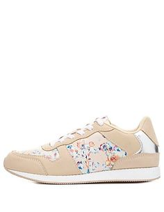Floral Print Lace-Up Sneakers 10.00