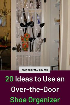 Organizing doesn't have to be expensive. You can repurpose simple organizers - an over-the-door shoe organizer. You can use it to organize other stuff in the home, not just shoes! Bedroom Organization Diy, Garage Organization, Shoe Storage, Storage Ideas, Door Shoe Organizer, Diy Garage, Organizers, Repurposed, Doors