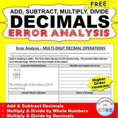 Free DECIMALS Word Problems - Error Analysis  Worksheet. Have your students apply their understanding of DECIMALS with these ERROR ANALYSIS activities. Topics included: ✔️ Add & Subtract Decimals ✔️ Multiply Decimals by Whole Numbers ✔️ Multiply Decimals by Decimals ✔️ Divide Decimals by Decimals ✔️ Divide Decimals by Whole Numbers 6.NS.2, 6.NS.3