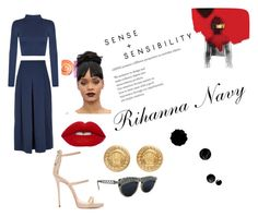 """Rihanna Navy"" by daijah-escobar on Polyvore featuring WearAll, TIBI, Giuseppe Zanotti, Jean-Paul Gaultier and Versace"