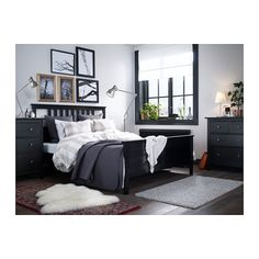 HEMNES Bed frame, black-brown Queen -