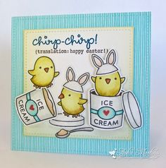 """Sunny Summer Crafts: Chicks and Ice-Cream. I  made a 4½"""" square card, cut out with the LF's Large Stitched Square dies. The centre panel is popped up on foam tape. I used Chirpy Chirp Chirp and Treat Yourself stamp sets. Stamped the images with Memento Tuxedo Black and coloured them with Copics. And lots of Clear Wink of Stella on the bunny ears and ice-cream. There's Gold Wink Of Stella on the chicks. Greeting w VersaFine Deep Lagoon and Onyx Black. Glossy Accents on the belly band of the…"""