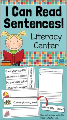 I Can Read Sentences literacy center - Sight word sentences for early readers Sight Word Sentences, Sight Words, Simple Sentences, Literacy Activities, Literacy Centers, Reading Activities, Guided Reading, Full Day Kindergarten, Kindergarten Lessons