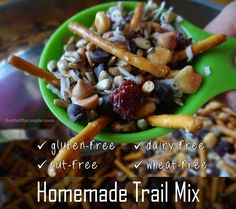 Gluten-Free trail mix recipe idea that is also nut-free, dairy-free, wheat-free.  This mix is satisfying, healthy, frugal and easy!