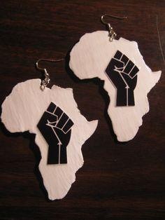 Black Power Fist Africa Earrings (White and Black)  (Specify Size: Sm, Med, or Lrg -- in CHECKOUT) via Etsy