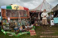 Glastonbury festival caravan