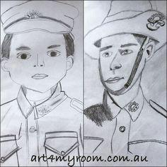 ANZAC soldiers, drawing, sketch, black and white, pencil, charchoal, art for teachers and kids - for this lesson please visit our website.