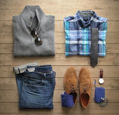 Blue Men's Fashion Grid Photo