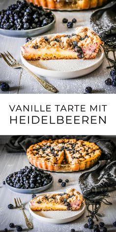 Vanille Tarte mit Heidelbeeren und Streusel - Ahalni Sweet Home - Meat Recipes Desserts Sains, Tart Recipes, Healthy Desserts, Pumpkin Spice, Smoothie Recipes, Food And Drink, Eat, Sweet Home, Healthy Smoothie Recipes