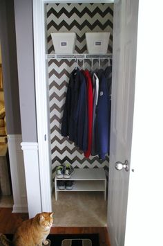 Royal Design Studio Chevron Stencil on Foyer Closet Wall | Project by Jackie Lerch