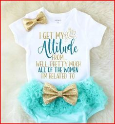 Baby clothes – I get my attitude from the shirt – Baby shower gift – Baby girl gift – Baby girl outfits – Toddler girl clothes – Sparkle change to I get my attitude from my Mommy and My Sissy - Unique Baby Outfits Baby Outfits, Toddler Girl Outfits, Kids Outfits, Trendy Outfits, Winter Outfits, Children's Outfits, Woman Outfits, Stylish Dresses, Fashion Outfits