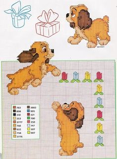 Lady & the Tramp puppy Fall Cross Stitch, Cross Stitch Thread, Free Cross Stitch Charts, Disney Cross Stitch Patterns, Cross Stitch Animals, Cross Stitch Designs, Cross Stitching, Cross Stitch Embroidery, Disney Stitch
