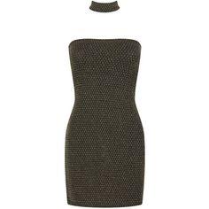 Boohoo Petite Brooke Metallic Textured Choker Bandeau Dress | Boohoo (43 SGD) ❤ liked on Polyvore featuring dresses, petite dresses, boohoo dresses, metallic dress, textured dress and bandeau dress