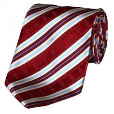 Sangria color stripe jacquard silk tie a dark red fine silk with matching elegant handwoven embroidery artistic bluish striped pattern only at mitchell-roberts.com mens neckties online shop.