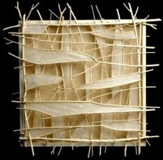 """by Jenna Weston: Stratus  24 x 24 x 3.5""""  Handmade Papers, River Willow Twigs"""