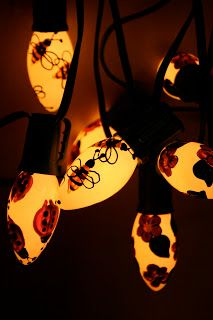 """DIY: Hand painted garden lights ~ via this blog, """"Vitamin C ... A Daily Dose of Creativity""""."""