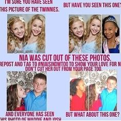 Why would people ever cut Nia out. This is old but still makes me so mad:////// !!!! GUYS, This is aweful! I love NIA! We need to stop this who is with me? @Ziegler's Perfection✨ @Dancemomsforever @DanceMoms FanPage @Dance Moms Fan Page @Twinnie Chloe @Princess Paigey and everyone else!!!!!!!!! I LOVE NIA FOREVER!!!! #TEAMNIA<3