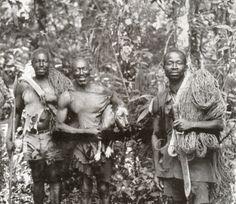 basenji with hunters