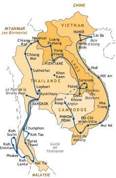 Carte de notre itinéraire en Asie du Sud-Est :  Vietnam du nord au sud (3,5 semaines, Cambodge de Phnom Penh à Angkor (10 j), Vol jusqu'à Paksé au sud du Laos puis Laos du sud au nord (3 semaines), Thaïlande du nord au sud (5 semaines)
