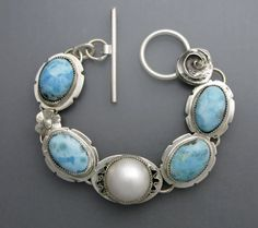 Mabe Pearl and Blue Larimar by Temi on Etsy