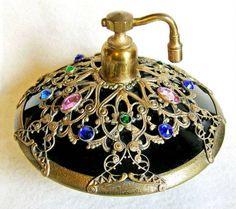 Vinrtage - Czech Deco jeweled filigree old  glass perfume bottle