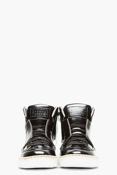 MAISON MARTIN MARGIELA Black Patent Leather High-Top Sneakers