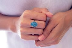 Larimar Ring Jalao Superb Deep Blue Larimar by TheLarimarShop