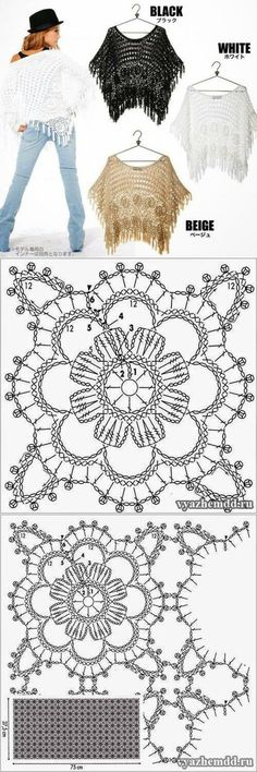 Pretty Join As You Go Square - Lacy Crochet Flower Shawl or Crochet Motif Patterns, Shawl Patterns, Crochet Diagram, Crochet Squares, Crochet Designs, Crochet Stitches, Poncho Crochet, Mode Crochet, Crochet Blouse