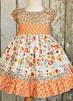 Cute mix of fabrics but I would make sure the graphics were right side up. Little Girl Outfits, Cute Outfits For Kids, Little Girl Dresses, Girls Dresses, Toddler Girl Dresses, Toddler Outfits, Sewing Clothes, Doll Clothes, Frocks For Girls