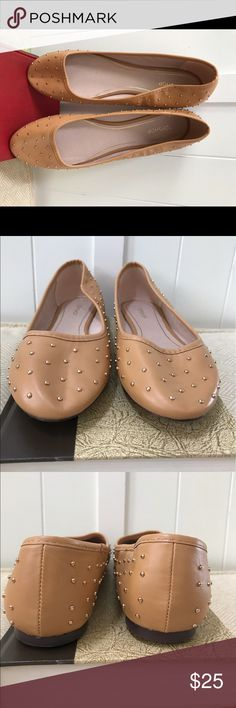 TOPSHOP Tan Stud Flats Topshop    Made in China    Size: us 10, euro 41, uk 8    Fits slim or mid wide foot    Material: Man Made, contents unknown    Condition: Excellent! Never worn! Minimal wear/ tear. (( For Sale Only )) Topshop Shoes Flats & Loafers