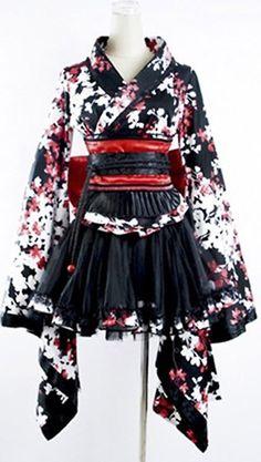 Kimono noir avec fleurs blanches et rouges Pyon Pyon LQ-001