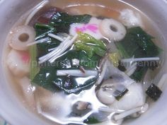 Rice cakes boiled with vegetables on New Year's Day(Japanese Style, Ozouni)